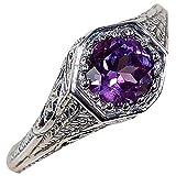Slendima Exquisite Retro Purple Rhinestone Inlaid Ring Trendy Wedding Bridal Jewelry Gift Purple US 9