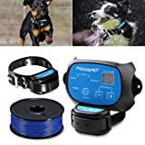 In Ground Dog Fence System,FOCUSPET Outdoor Invisible Electric Wired Dog Fence 655ft Remote Electronic Dog Fence Kit Rechargeable & Waterproof Receiver Collar Beep/Tone/Shock for Small Large Dogs
