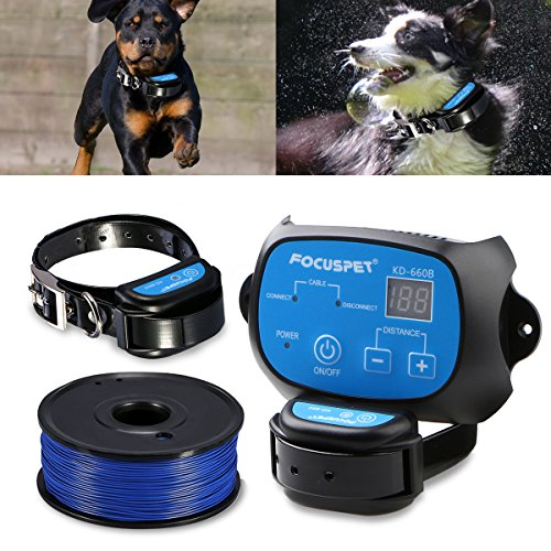 In Ground Dog Fence System,FOCUSPET Outdoor Invisible Electric Wired Dog Fence 655ft Remote Electronic Dog Fence Kit Rechargeable & Waterproof Receiver Collar Beep/Tone/Shock for Small Large Dogs by FOCUSPET