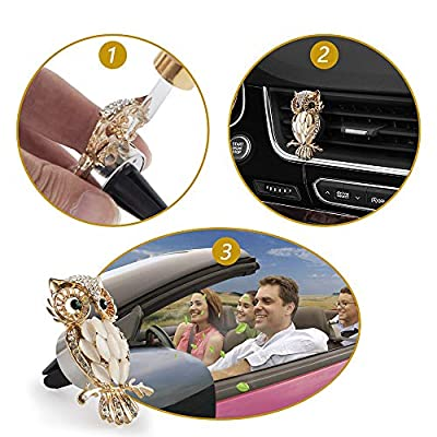 Owl Car Aromatherapy Essential Oil Diffuser Diamond Locket with Vent Clip and Best Home Decoration Car Decoration Car Air Freshener, AMind(Gold): Home & Kitchen
