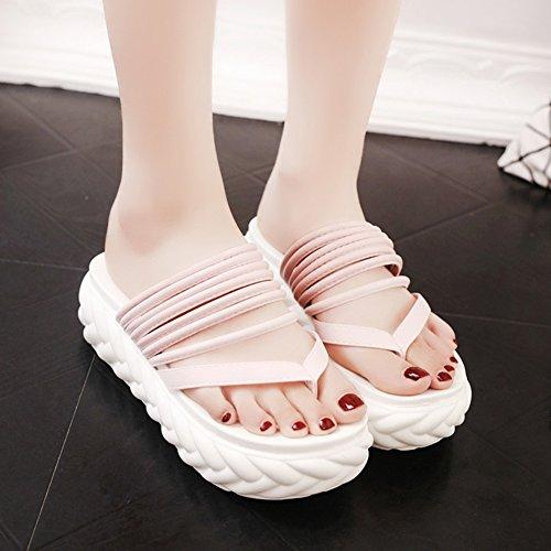 235 5cm zapatillas 4 Con del LIXIONG playa de Hembra antideslizante Tamaño Fondo Negro Zapatos verano clip zapato grueso Color de Punta UK4 4 CN37 EU37 5 una moda Pink 5 colores altura AxdqawdT