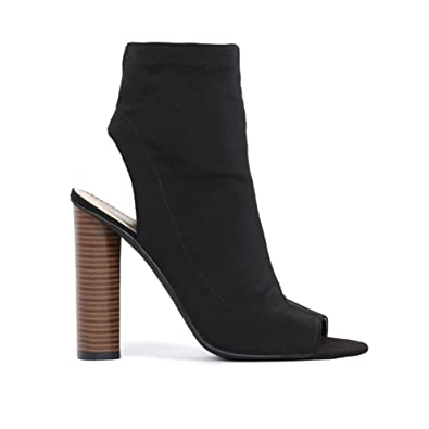 70930a1a6b08 Womens Pull On Cut Out Sock Fit Block Heel Stretch Ankle Boots in Black UK 3