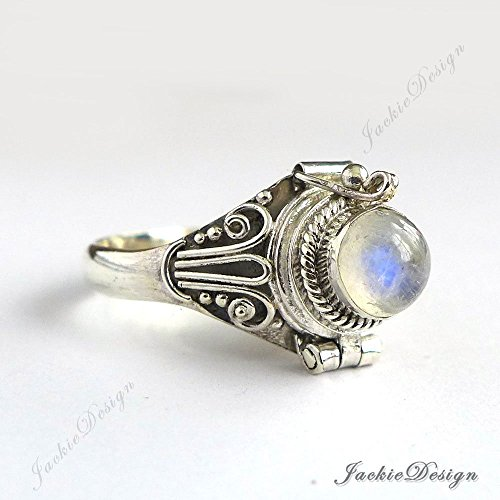 Moonstone Poison Ring Locket Sterling Silver Secret Compartment