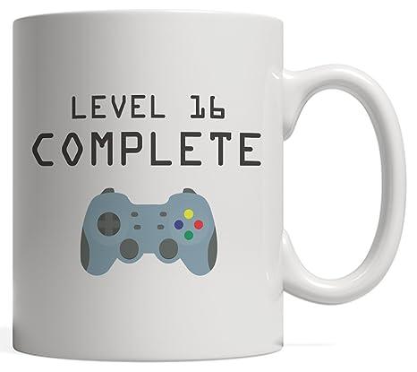 Amazon.com: Nivel 16 completo taza – Cool Geek Gaming para ...