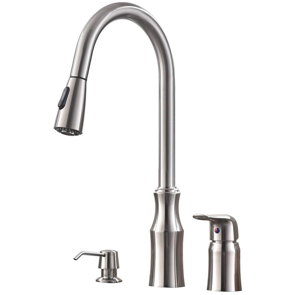 Hotis 3 Hole Kitchen Sink Faucet with Pull Down Sprayer Soap Dispenser Stainless Steel Single Handle Kitchen Faucet, Brushed Nickel