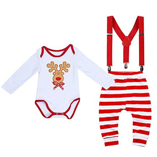 Newborn Infant Toddler First Christmas Romper Striped Pants Cake Smash Adjustable Y Back Suspenders Clothes Set #8 Long sleeve Deer set 3-6 Months