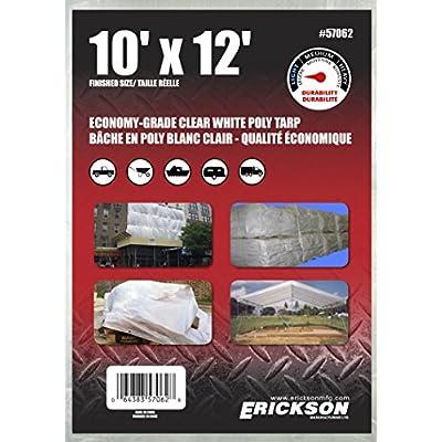 Erickson 57062 Clear White Economy Grade Poly Tarp, 10' x 12', 1 Pack: Automotive
