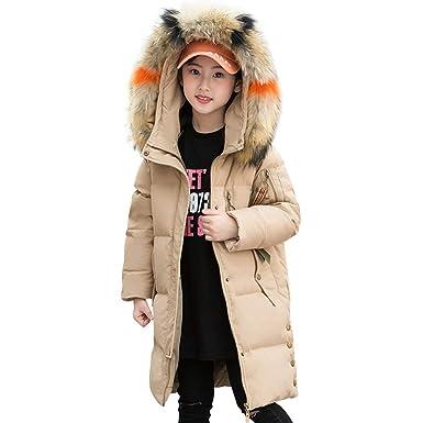 cdb96b9c96a04 LPATTERN Enfant Fille Doudoune Veste d hiver Manteau Mi-Longue Epaisse  Chaude Capuche Grande