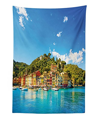 Lunarable Village Tapestry, Mediterranean European Town by The Sea Portofino Italian Harbor Panorama View, Fabric Wall Hanging Decor for Bedroom Living Room Dorm, 30 W X 45 L inches, Blue (Portofino Tapestry Wall Hanging)
