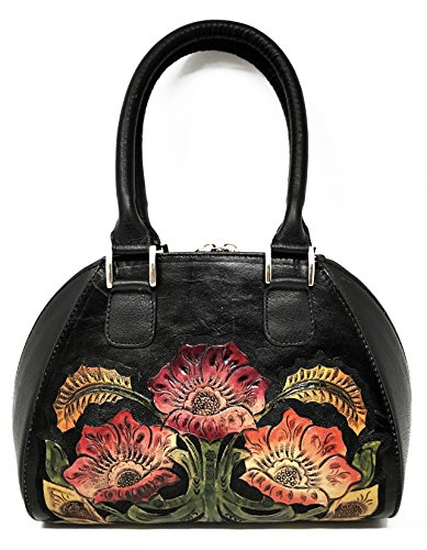 Alexandria Vintage Floral Artisan Leather Handmade Top Handle CrossBody Handbag Designer Gift for Women (Ebony) ()