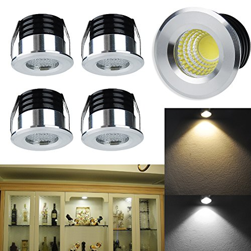 Elitlife 5 Pack 3W 300 Lumens Mini COB Recessed Ceiling Downlight Kit Warm White 2800-3000K - Silver Aluminum Light Cover & PC Mirror With LED Driver- for Recessed Light, Track Light Cabinet & More by Elitlife (Image #7)