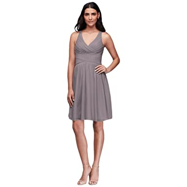 72ebfd0b4b57 David's Bridal Mesh Short Bridesmaid Dress with Crisscross Back Style  W11480, Portobello, ...