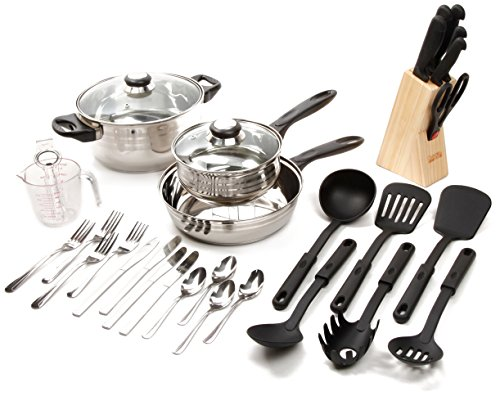 Gibson Value 89117.32  Lybra 32 Piece Cookware Combo Set, Mirror Polished Stainless Steel (Renewed)