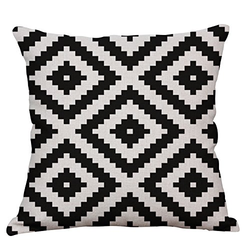 YeeJu Geometric Decorative Throw Pillow Covers Square Cotton Linen Cushion Covers Outdoor Sofa Home Pillow Covers 20x20 Inch
