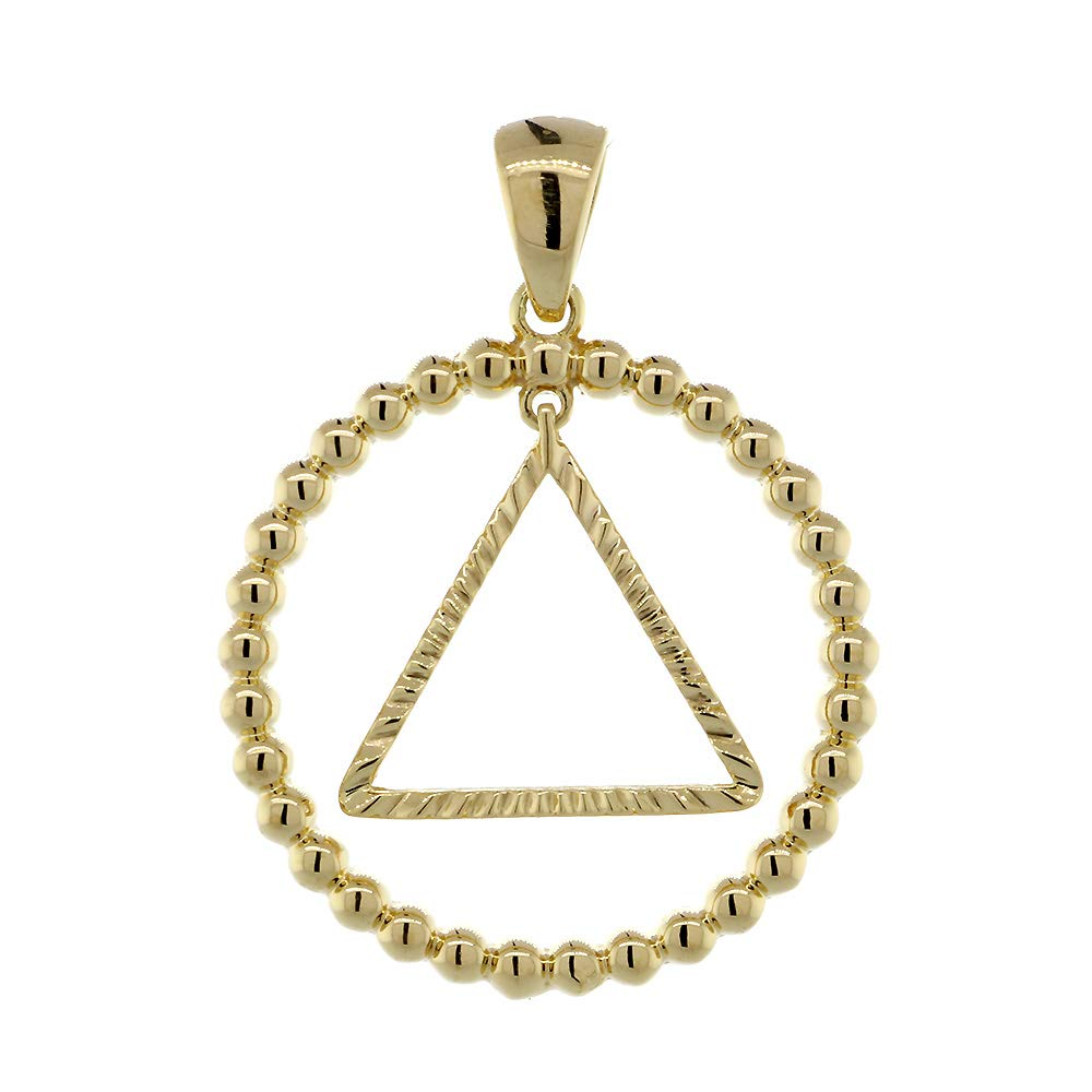 25mm AA Sobriety Charm Beaded Circle and Diamond Cut Movable Triangle in 18K Yellow Gold