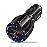 Car Charger With Quick 3.0, Flush Fit Dual Port 6A/35W Output Applicable for iPhone X/8/7/Plus, iPad Pro/Air 2/mini, Samsung Galaxy Note8/S8/S8 and More(Black)