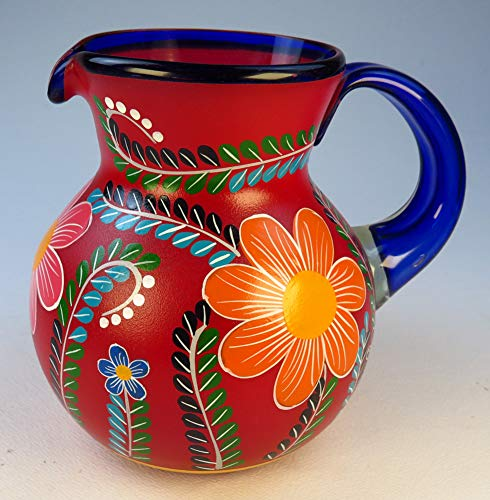 Mexican Glasses & Pitcher set with display rack, Hand Blown, Hand Painted, mixed colors w/various flowers, 16 OZ by Mexican Glass Hand Blown (Image #3)
