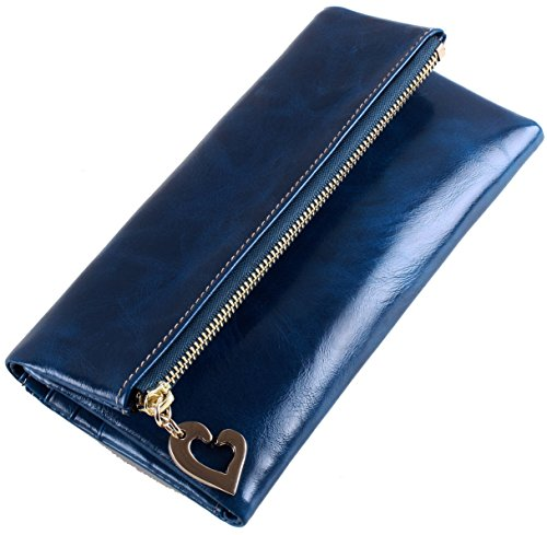 Hereby Kuer(TM) Women's Waxy Cow Leather Simple Card Holder Long Handbag Wallet (Navy Blue)