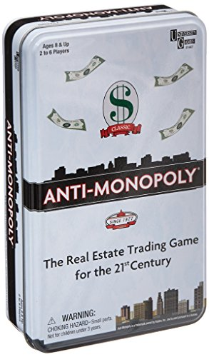 (Anti-Monopoly Game Tin  Travel by University Games |The Real Estate Trading Game for the 21st Century | Fun, Challenging Game in Travel Tin | For Ages 8 Years and Up)