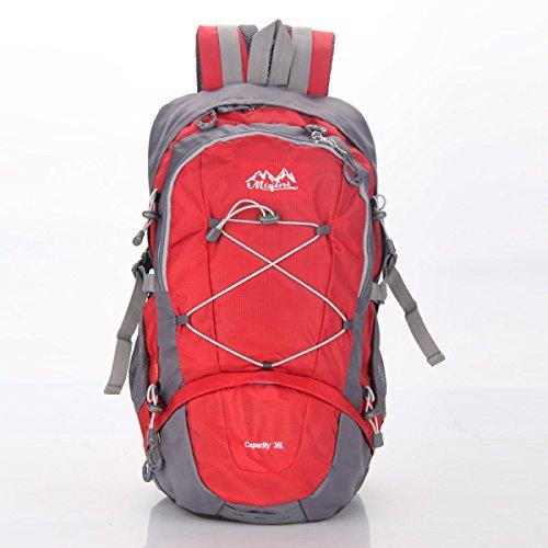 LQABW La Bolsa De Gran Capacidad Para Deportes Al Aire Libre Del Alpinismo Hombres Y Las Mujeres Hombro Con La Cubierta De La Lluvia Generación Mochila 35L,Blue Red