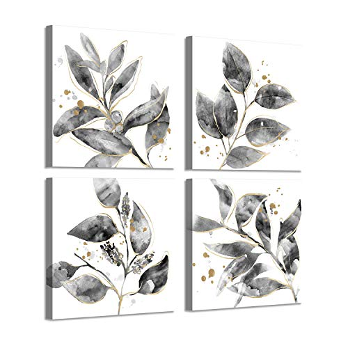 Leaf Canvas Prints Wall Art: Botanical with Gold Foil Pictures Painting Print on Canvas for Dining Room (16'' x 16'' x 4 - Leaf Gold 16