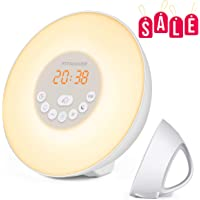 Sunrise Alarm Clock, Wake Up Light with 6 Nature Sounds, FM Radio, Color Light, Bedside Sunrise Simulator (New-White)