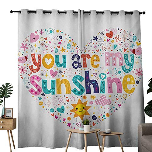 Lab Collection Shine Star (NUOMANAN Bedroom Curtains 2 Panel Sets Quote,Heart Shaped Sunshine Motivational Quote with Stars Circle Sun Cloud Infant Design,Multicolor,Complete Darkness, Noise Reducing Curtain 84