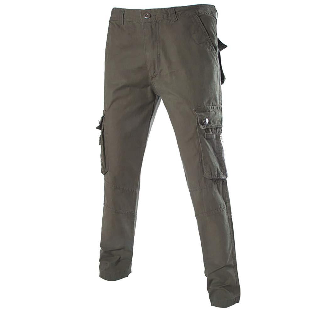 Molyveva Men New Pure Multi-Pocket Zipper Casual Pants Outdoor Overalls Trousers