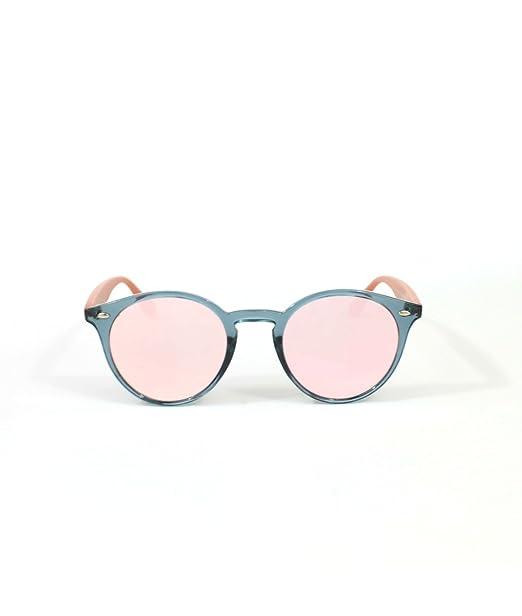 Owl Gafas de sol SAUSALITO chica redonda pasta transparente gris lente espejo rosa verde azul