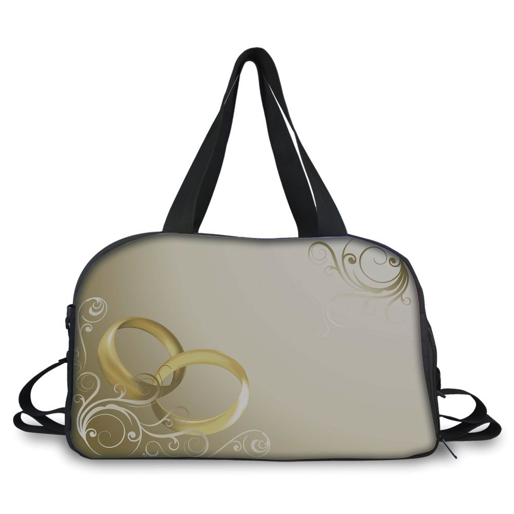 iPrint Travelling bag,Wedding Decorations,Two Wedding Rings Entangled Swirled Floral Framework Romantic,Sepia Gold White ,Personalized