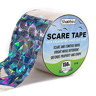 Bird Repellent Scare Tape, Reflective Bird Deterrent and Bird Control Device, Holographic Reflector Ribbon, Scare Birds, Woodpeckers, Pigeons and More. Prevent Damage.