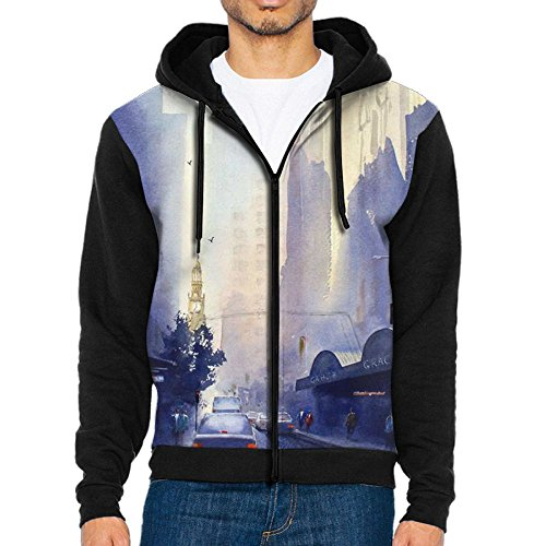 The Foggy Grace City Mens Comfy Hoodie Jacket Full Zipper Hooded With Pouch Pocket For Sports Jogging Sweater