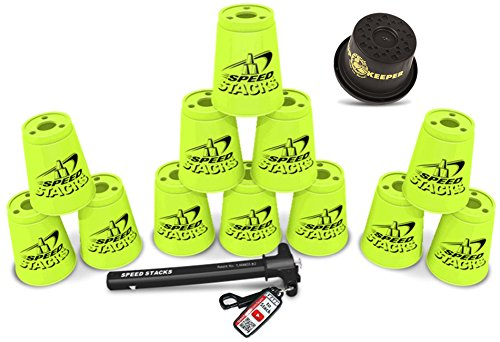 Speed Stacks Custom Combo Set: 12 NEON YELLOW Cups, Cup Keeper, Quick Release Stem