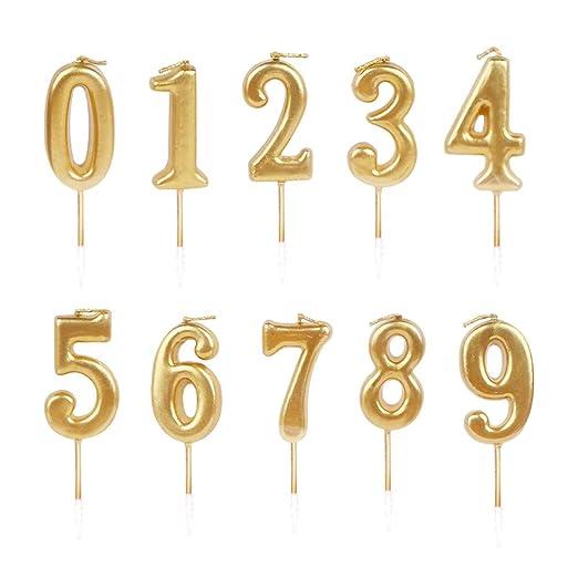Amosfun Número Pastel Topper Números Vela Cumpleaños ...