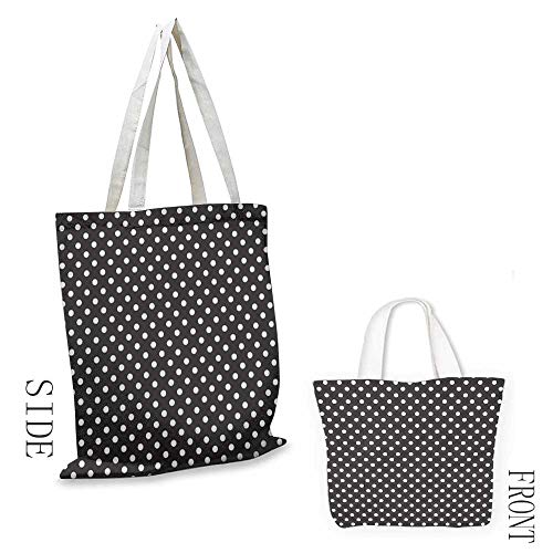 Canvas travel storage bag Black and White Classical Pattern of White Polka Dots on Black Traditional Vintage Design Decorative crafts 16.5