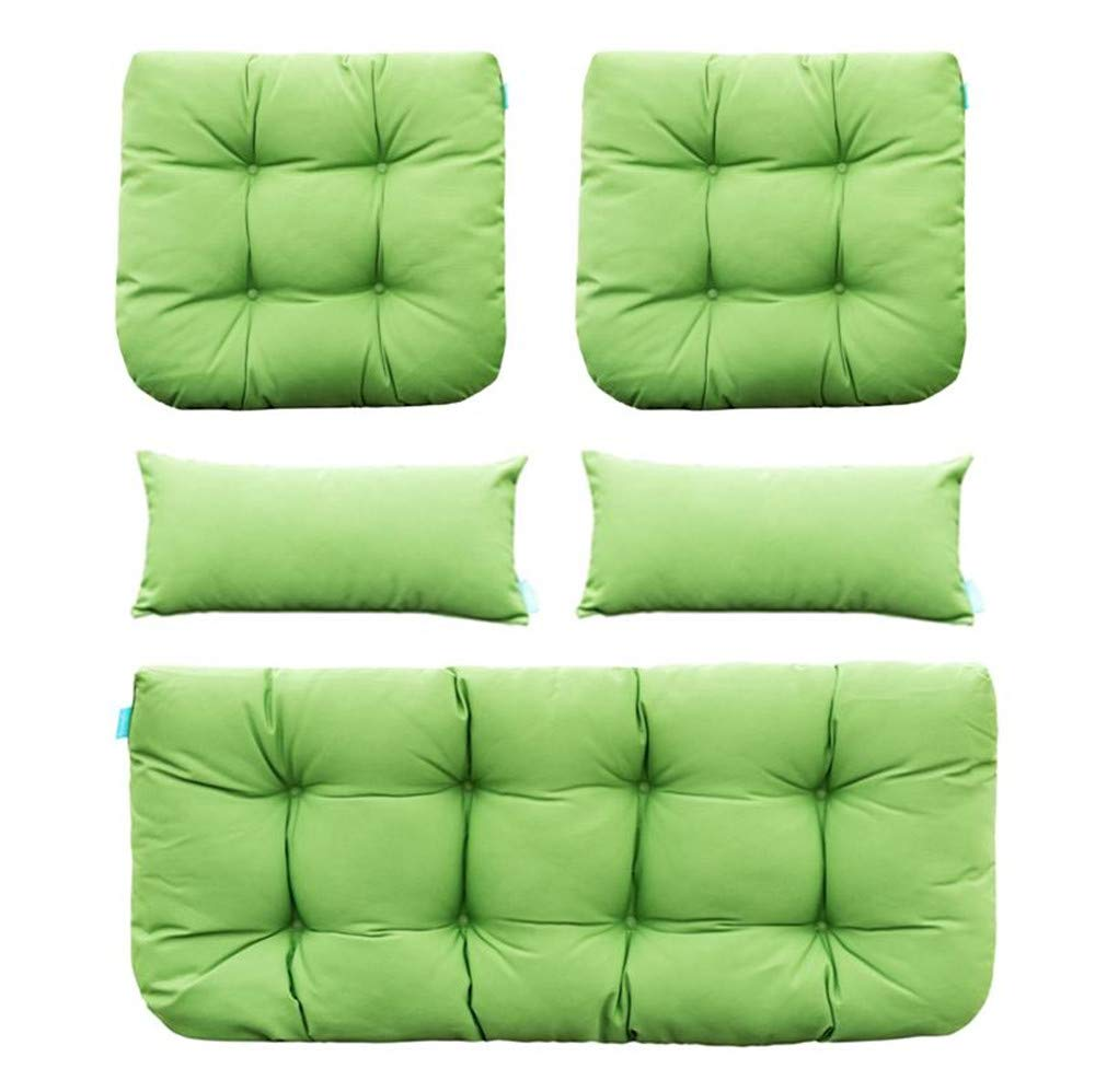 QILLOWAY Outdoor Patio Wicker Seat Cushions Group Loveseat/Two U-Shape/Two Lumbar Pillows for Patio Furniture,Wicker Loveseat,Bench,Porch,Settee of 5 (Green) by QILLOWAY