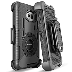 S6 Edge Case,galaxy S6 Edge Case,bentoben Shockproof Heavy Duty Protection Hybrid Rugged Rubber Case Built-in Rotating Kickstand Belt Swivel Clip Holster Cover For Samsung Galaxy S6 Edgesm-g925 Black