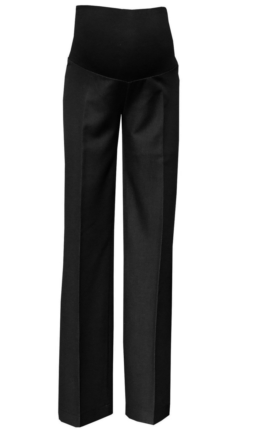 Mija - Elegant Classic Formal Smart Tailored Maternity Trousers Over Bump 1011A (US 10/L31, Anthracite Black)