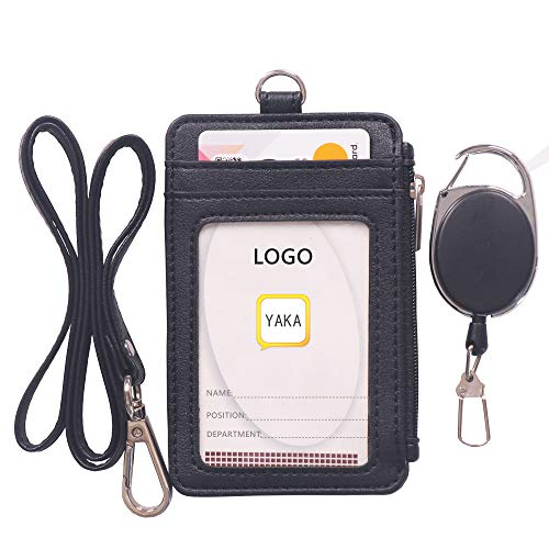 YAKA 1pcs Two-Sided Vertical Style PU Leather ID Badge Holder with 1 ID Window, 4 Card Slots,1 Side Zipper Pocket and 1 Piece PU Neck Lanyard,1 Piece Retractable Reel (Black) (Two Sided Id Holder)
