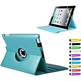 iPad2 iPad3 iPad4 360度回転式 スタンド仕様 レザー ケース 液晶保護フィルム付き sea green(シーグリーン)