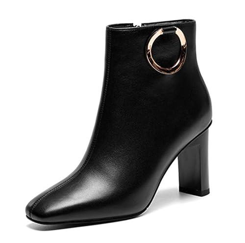Shiney - Botines De Terciopelo para Mujer, De Tacón Grueso, Cremallera Lateral, Botas Bajas, Tacón Alto: Amazon.es: Zapatos y complementos