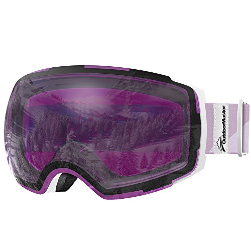OutdoorMaster Ski Goggles PRO - Frameless, Interchangeable Lens 100% UV400 Protection Snow Goggles for Men & Women ( White Frame VLT 30% Purple Lens with REVO Silver and Free Protective - Frames Revo
