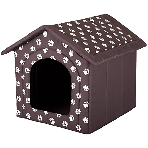 Hobbydog Dog House, Size 2, Brown with Paws