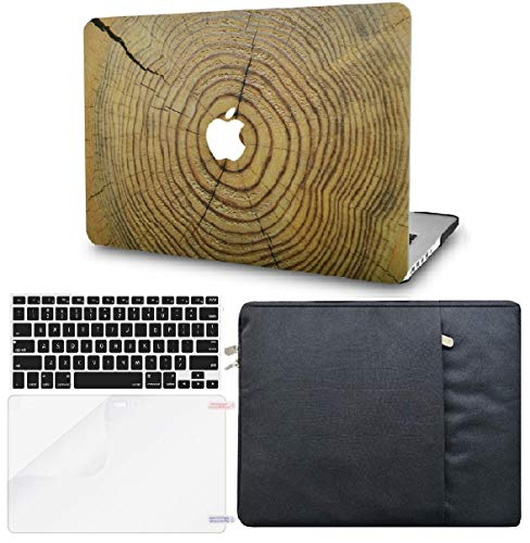 """KECC Laptop Case for MacBook Air 13"""" w/Keyboard Cover + Sleeve + Screen Protector (4 in 1 Bundle) Plastic Hard Shell Case A1466/A1369 (Cracked Wood)"""