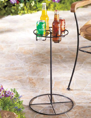 LDI Patio Furniture Metal 4 Beverage Drink Holder Table in Black - Great for Camping ()