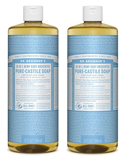 Dr. Bronner's Pure-Castile Liquid Soap Value Pack - Baby Unscented 32oz. (2 Pack) (Best Homemade Mask For Dry Skin)