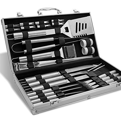 BBQ Tools Set - 26 Kit Stainless Steel BBQ Grill Tool Accessories Set in Gift Box - Outdoor Camping Barbecue Grilling Gift Kit with Aluminum Case for Men Dad Women Grill Tools