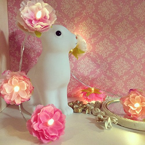 20 LED Artificial Flower String Light, Lighting Fairy Red Fabric Blossom Wedding Centerpiece Spring Ambience Decoration for Porch Terrace - Camping To For Bring Things Fun