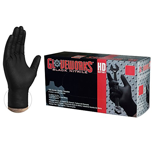 GLOVEWORKS HD Industrial Black Nitrile Gloves - 6 mil, Latex Free, Powder Free, Diamond Texture, Disposable, Medium, GWBN44100-BX, Box of 100