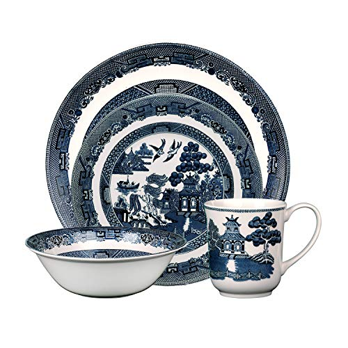 Johnson Brothers 40034958 Willow 4 Piece Place Setting, blue and white